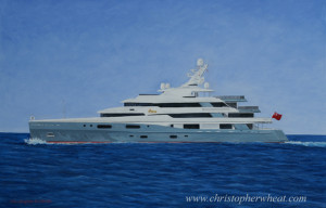 Mega Yacht Custom Portrait artist Christopher Wheat