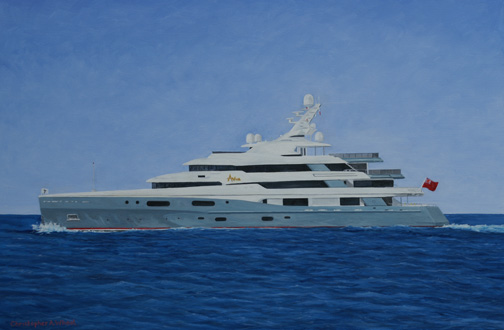 Mega Yacht Custom Painting of Aviva artist Christopher Wheat