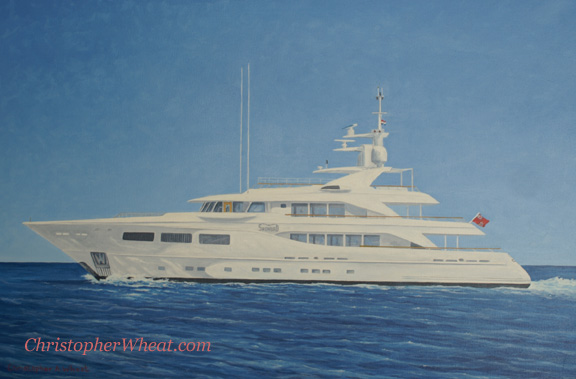 Mega Yacht Snowbird by artist Christopher Wheat