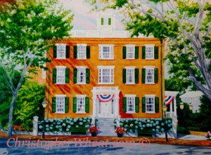 Jared Coffin House, Nantucket ~ 18x24 oil on canvas by Christopher Wheat
