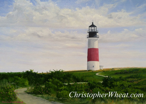 Path to Sankaty Light Nantucket ~ 18x24 oil on canvas by Christopher Wheat