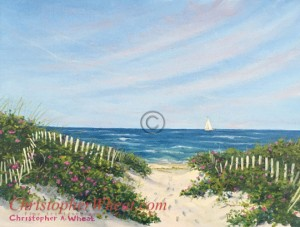 Sconset Dunes Path Original oil Painting artist Christopher Wheat
