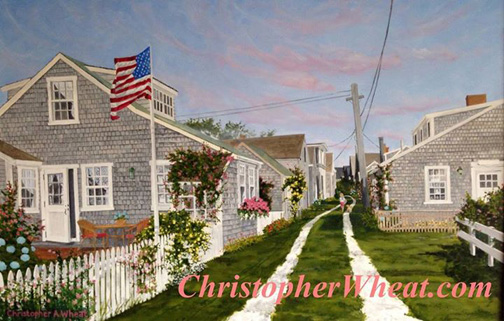 Walking Up Front Street, Nantucket ~ 36x45 oil on canvas