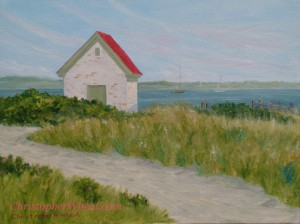 Oil Pump House at Brant Point Nantucket ~ 12x16 oil on canvas by Christopher Wheat
