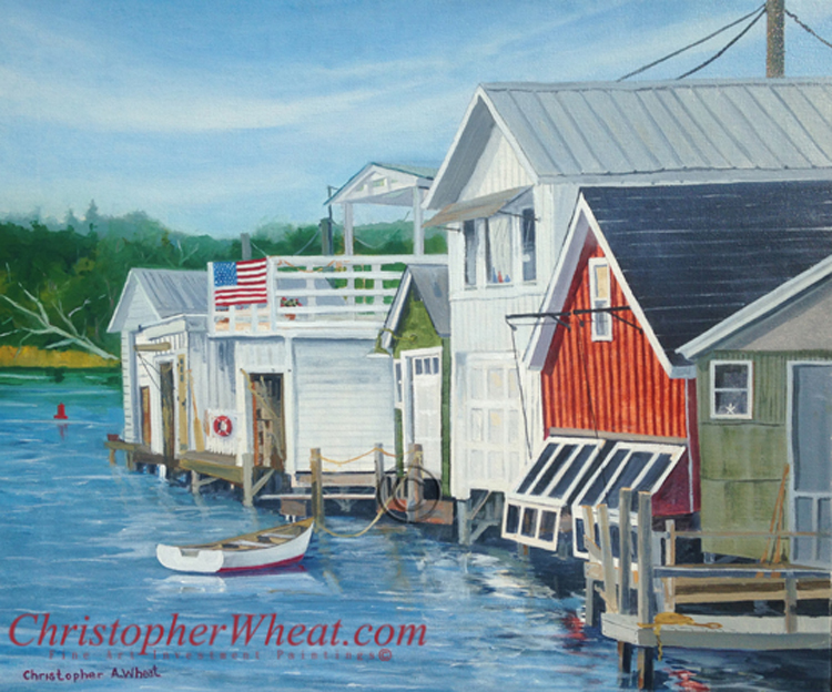 Boathouses Canandaigua Lake by artist Christopher Wheat