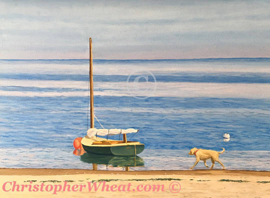 Madaket Yellow Lab at Low Tide, Nantucket by Christopher Wheat