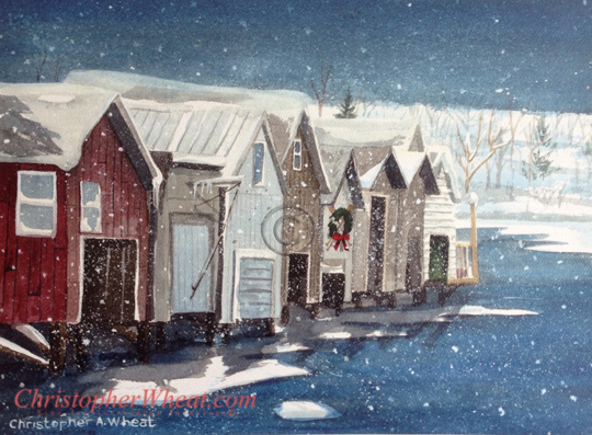 Holiday Boathouses, Canandaigua by artist Christopher Wheat