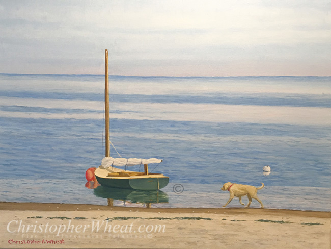 Madaket Yellow Lab, Nantucket, Artist Christopher Wheat