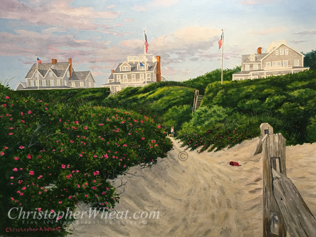Morning Walk Steps Beach, Nantucket, Artist Christopher Wheat
