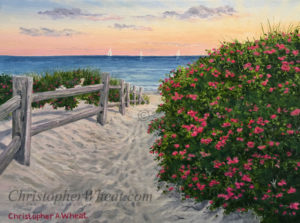 Sunrise Steps Beach, Nantucket, Artist Christopher Wheat