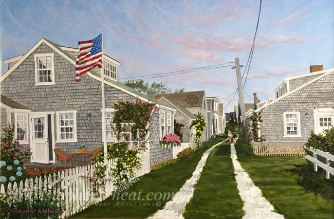 Walking up Front Street, Sconset, Nantucket, Artist Christopher Wheat