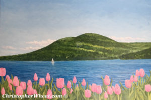 Tulips On Canandaigua Lake by Christopher Wheat