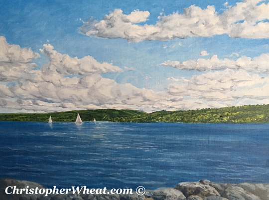 Three Sailboats Canandaigua Lake, by Artist Christopher Wheat