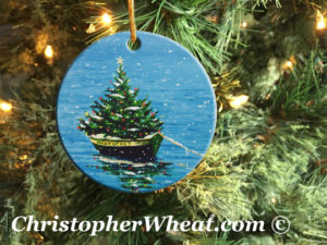 Nantucket Christmas Boat Ornament by Artist Christopher Wheat