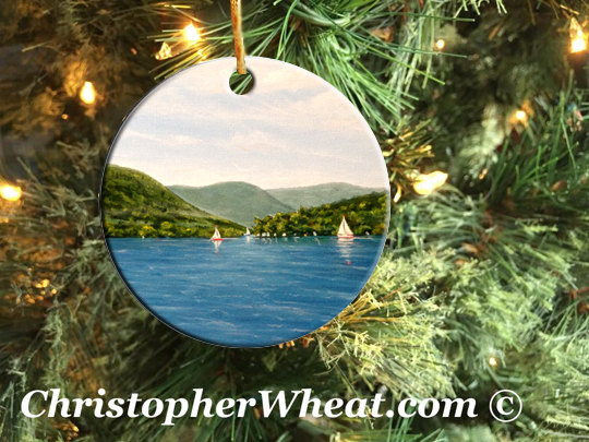 The Hills - Canandaigua Lake Ornament by Artist Christopher Wheat